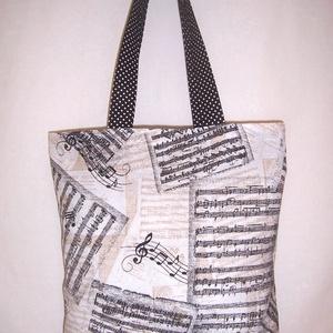 Drapp kotta mintás táska , NoWaste, Táska, Divat & Szépség, Táska, Szatyor, Válltáska, oldaltáska, Varrás, Drapp alapon kotta mintás pamutvászonból készítettem ezt a táskát.\n\nPöttyös füllel díszítettem.\n\nOld..., Meska