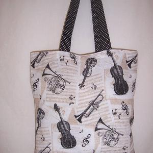 Drapp hangszer mintás táska  (textilcseppek) - Meska.hu