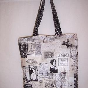 Párizs mintás táska fekete , NoWaste, Táska, Divat & Szépség, Táska, Szatyor, Válltáska, oldaltáska, Varrás, Párizs mintás 100% vékony vászonanyagból készítettem ezt a táskát.\n\nPöttyös füllel díszítettem.\n\nOld..., Meska