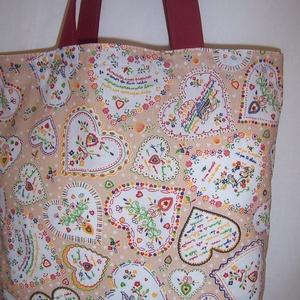 Szív mintás táska drapp - bordó (textilcseppek) - Meska.hu
