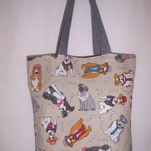 Színes kutya mintás táska , Táska & Tok, Kézitáska & válltáska, Színes kutya mintás vastagabb vászonanyagból készítettem ezt a táskát.  Oldalán és alján dupla varrá..., Meska