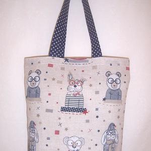 Textiltáska állatos, NoWaste, Bevásárló zsákok, zacskók , Táska, Divat & Szépség, Táska, Szatyor, Válltáska, oldaltáska, Varrás, Szürke alapon kék állat mintás vastagabb vászonanyagból készítettem ezt a táskát.\n\nOldalán és alján ..., Meska