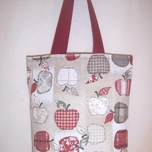 Textiltáska almás bordó, NoWaste, Bevásárló zsákok, zacskók , Táska, Divat & Szépség, Táska, Szatyor, Válltáska, oldaltáska, Varrás, Drapp alapon bordó almamintás vastagabb vászonanyagból készítettem ezt a táskát.\n\nOldalán és alján d..., Meska