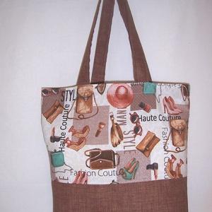 Színes barna mintás táska , NoWaste, Bevásárló zsákok, zacskók , Táska, Divat & Szépség, Táska, Szatyor, Válltáska, oldaltáska, Varrás, Színes barna mintás és barna vastagabb vászonanyagból készítettem ezt a táskát.\n\nOldalán és alján du..., Meska