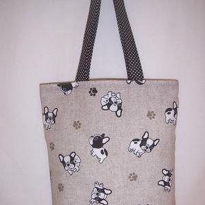 Fekete kutya mintás táska , NoWaste, Bevásárló zsákok, zacskók , Táska, Divat & Szépség, Táska, Szatyor, Válltáska, oldaltáska, Varrás, Drapp alapon fekete kutya mintás vastagabb vászonanyagból készítettem ezt a táskát.\n\nOldalán és aljá..., Meska