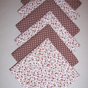 Textil szalvéta 6 db barna virágos  - Meska.hu