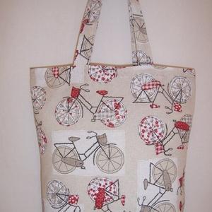 Bordó kerékpár mintás táska , NoWaste, Bevásárló zsákok, zacskók , Táska, Divat & Szépség, Táska, Szatyor, Válltáska, oldaltáska, Varrás, Bordó kerékpár mintás vastagabb vászonanyagból készítettem ezt a táskát.\n\nOldalán és alján dupla var..., Meska