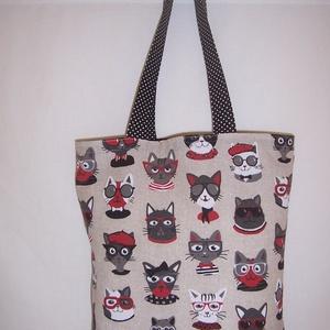 Szemüveges cicák mintás táska , NoWaste, Textilek, Táska, Divat & Szépség, Táska, Szatyor, Válltáska, oldaltáska, Varrás, Szemüveges cicák mintás vastagabb vászonanyagból készítettem ezt a táskát.\n\nOldalán és alján dupla v..., Meska