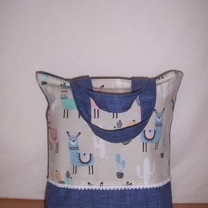 Láma mintás kis táska bélelt rövid füllel  (textilcseppek) - Meska.hu