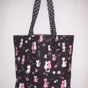 Fekete cica mintás táska rózsaszín , NoWaste, Bevásárló zsákok, zacskók , Táska, Divat & Szépség, Táska, Szatyor, Válltáska, oldaltáska, Varrás, Fekete alapon fehér, rózsaszín cica mintás\n\n100 % vékony vászon anyagból készítettem ezt a táskát!\nP..., Meska