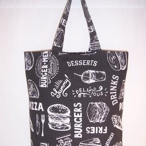 Fekete kaja mintás táska normál füllel , Táska & Tok, Kézitáska & válltáska, Fekete fehér ételeket ábrázoló vastagabb vászonanyagból készítettem ezt a táskát.  Oldalán és alján ..., Meska