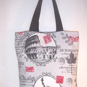 Város mintás táska , Táska & Tok, Kézitáska & válltáska, Városrészeket ábrázoló mintás vastagabb vászonanyagból készítettem ezt a táskát.  Oldalán és alján d..., Meska