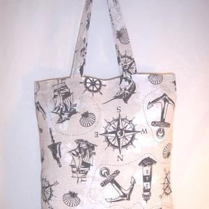 Tengerész mintás táska szürke , NoWaste, Bevásárló zsákok, zacskók , Táska, Divat & Szépség, Táska, Szatyor, Válltáska, oldaltáska, Varrás, Drapp alapon sötétszürke tengerész mintás vastagabb vászonanyagból készítettem ezt a táskát.\n\nOldalá..., Meska