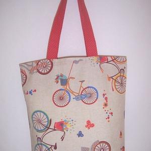 Biciklis baglyos mintás táska , NoWaste, Bevásárló zsákok, zacskók , Táska, Divat & Szépség, Táska, Szatyor, Válltáska, oldaltáska, Varrás, Vidám biciklis baglyos mintás vastagabb vászonanyagból készítettem ezt a táskát.\n\nOldalán és alján d..., Meska