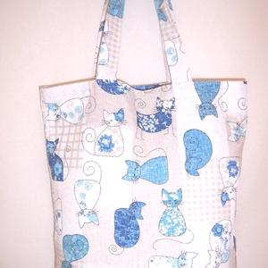 Kék cica mintás táska , NoWaste, Bevásárló zsákok, zacskók , Táska, Divat & Szépség, Táska, Szatyor, Varrás, Kék cica mintás vastagabb vászonanyagból készítettem ezt a táskát.\n\nOldalán és alján dupla varrással..., Meska