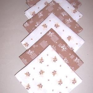 Textil szalvéta 6 db drapp virág mintás, NoWaste, Textilek, Otthon & lakás, Konyhafelszerelés, Lakberendezés, Lakástextil, Varrás, Textil szalvétát készítettem drapp virág mintás 100% pamutvászonból.\n\nEgyedivé teheted a mindennapi ..., Meska