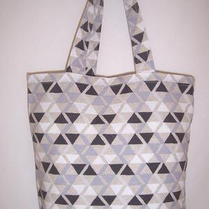 Fekete szürke háromszög mintás táska  (textilcseppek) - Meska.hu