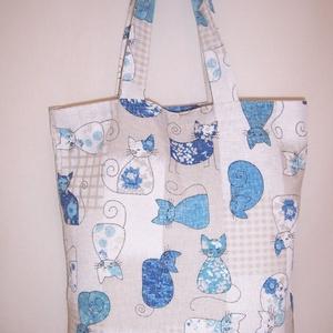 Kék cica mintás táska  (textilcseppek) - Meska.hu