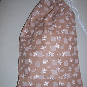 Kenyeres zsák PUL béléssel XL méret barna  virágos (textilcseppek) - Meska.hu