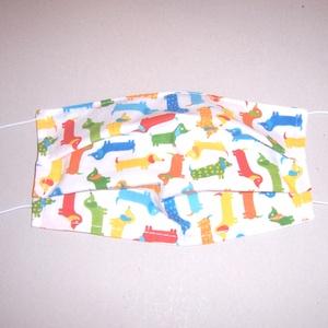 Szájmaszk színes kutya mintás , NoWaste, Textilek, Táska, Divat & Szépség, Szépség(ápolás), Maszk, szájmaszk, Varrás, 2 rétegű 100% pamutvászonból készült dupla rétegű felnőtt szájmaszk.\nA felső réteg színes mintás vás..., Meska