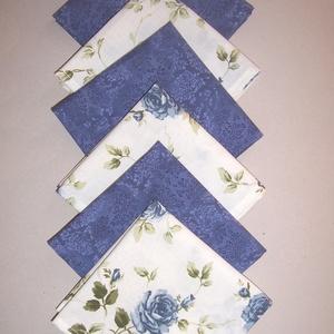 Textil szalvéta 6 db kék rózsás , NoWaste, Textilek, Otthon & lakás, Konyhafelszerelés, Lakberendezés, Lakástextil, Varrás, Textil szalvétát készítettem kék mintás és krém kék rózsa mintás 100% pamutvászonból.\n\nEgyedivé tehe..., Meska
