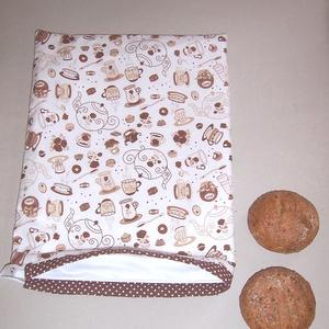 Kenyeres zsák PUL béléssel barna kávés csészés (textilcseppek) - Meska.hu