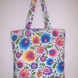 Színes virág mintás fehér táska  (textilcseppek) - Meska.hu