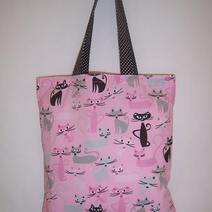 Cica mintás táska rózsaszín  (textilcseppek) - Meska.hu