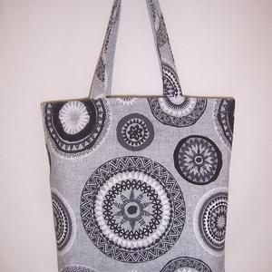 Fekete mandala mintás táska  (textilcseppek) - Meska.hu