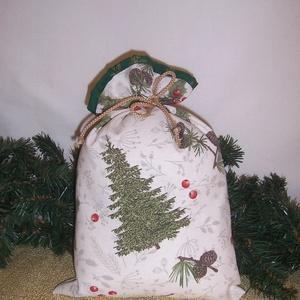 Ajándék átadó textilzsák fenyőfás, Otthon & Lakás, Karácsony & Mikulás, Karácsonyi csomagolás, Varrás, Sok ajándékot kell csomagolnod karácsonykor?\nVagy szeretnél egy különleges csomagolást.\nVálassz egy ..., Meska