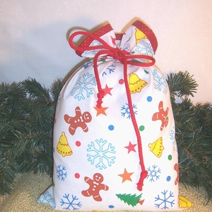 Ajándék átadó textilzsák mézes fehér, Otthon & Lakás, Karácsony & Mikulás, Karácsonyi csomagolás, Varrás, Sok ajándékot kell csomagolnod karácsonykor?\nVagy szeretnél egy különleges csomagolást.\nVálassz egy ..., Meska