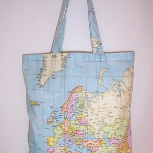Térkép mintás táska , Táska & Tok, Bevásárlás & Shopper táska, Shopper, textiltáska, szatyor, Világoskék alapon térkép mintás 100 % vékony vászon anyagból készült ez a táska!  Oldalán és alján d..., Meska
