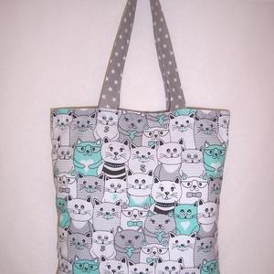 Sok cica mintás táska szürke (textilcseppek) - Meska.hu