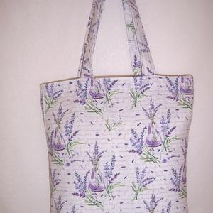 Levendula mintás táska , Táska & Tok, Bevásárlás & Shopper táska, Shopper, textiltáska, szatyor, Levendula mintás vastagabb vászonanyagból készítettem ezt a táskát.  Oldalán és alján dupla varrássa..., Meska