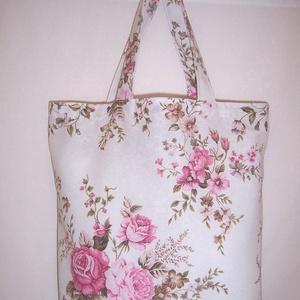 Fehér bordó rózsás táska normál füllel  (textilcseppek) - Meska.hu