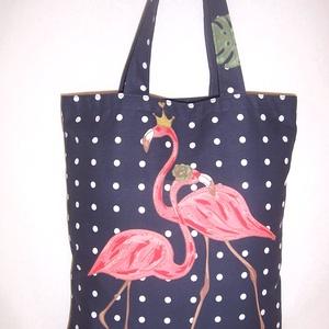 Flamingó mintás táska  (textilcseppek) - Meska.hu