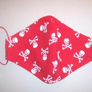 Textilmaszk piros fehér halálfej mintás (textilcseppek) - Meska.hu