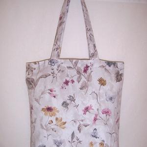 Szürke virágmintás táska  (textilcseppek) - Meska.hu