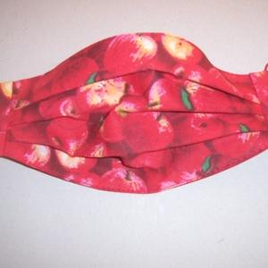 Textilmaszk piros alma mintás (textilcseppek) - Meska.hu