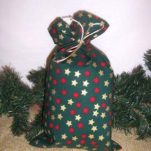 Mikulás zsák szürke zöld csillagos, Karácsony & Mikulás, Karácsonyi csomagolás, Varrás, Hagyományőrző vagy!\n\nSzeretnél az ünnepek alatt is figyelni a környezetedre is.\n\nVálassz a műanyag m..., Meska