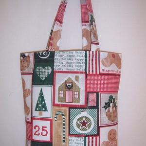 Karácsonyi patchwork mintás táska (textilcseppek) - Meska.hu