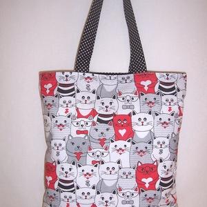 Sok cica mintás táska piros  (textilcseppek) - Meska.hu