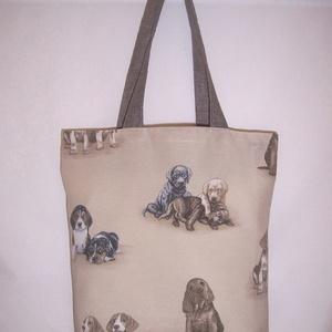 Drapp kutya mintás táska  (textilcseppek) - Meska.hu