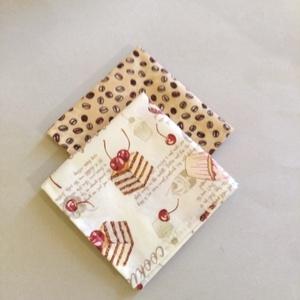 Textil szalvéta 2 db kávé-sütis (textilcseppek) - Meska.hu