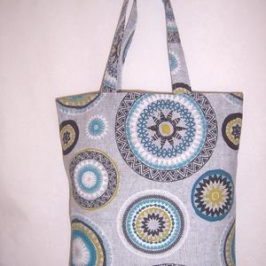 Szürke-kék mandala mintás táska  (textilcseppek) - Meska.hu