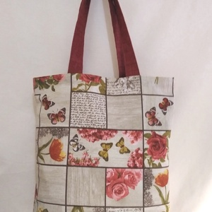 Bordó rózsa mintás táska  (textilcseppek) - Meska.hu