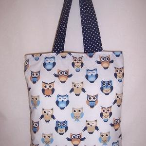 Kék bagoly mintás táska  (textilcseppek) - Meska.hu