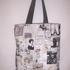 Fekete Párizs mintás táska (textilcseppek) - Meska.hu