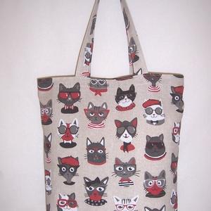 Szemüveges cica mintás táska  (textilcseppek) - Meska.hu