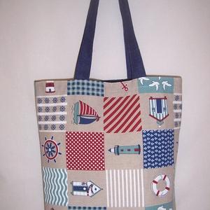 Tengerész  patchwork mintás táska  (textilcseppek) - Meska.hu